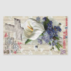 Calla Lily and Cross Vintage Easter Rectangular Sticker