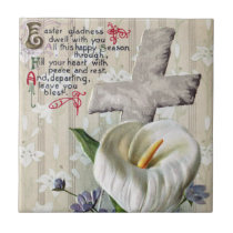 Calla Lily and Cross Vintage Easter Tile
