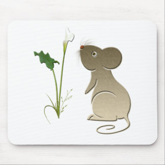 Calla lily and cute mouse mouse pad