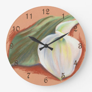 Calla Lily and Leaf Large Clock