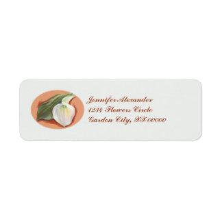 Calla Lily and Leaf Wedding Label