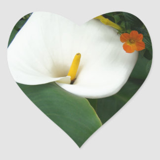 Calla Lily and Little Orange Flower Heart Sticker