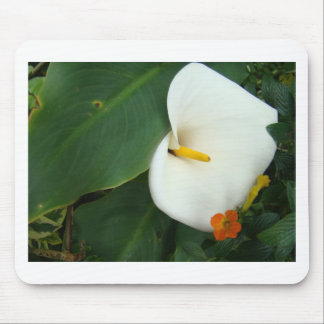 Calla Lily and Little Orange Flower Mouse Pad