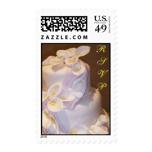 Calla Lily and Pearls Wedding Cake Postage Stamps
