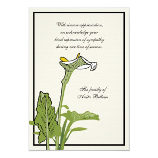 Calla Lily Bereavement Thank You Notecard