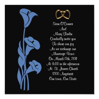 Calla Lily Blue on black Invitation