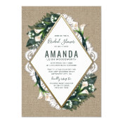 Calla Lily Burlap Lace Bridal Shower Invitations