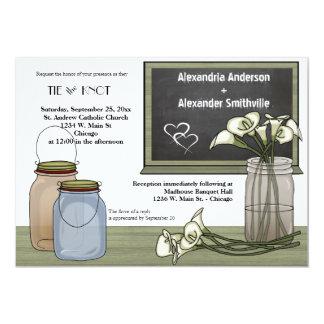 Calla Lily Chalkboard And Mason Jar Wedding Invite