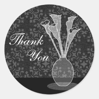 Calla Lily Damask Custom Thank You Sticker