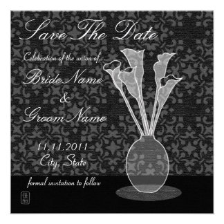 Calla Lily Damask Save The Date Invitation Card