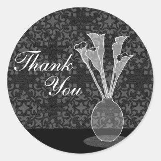 Calla Lily Damask Thank You Sticker