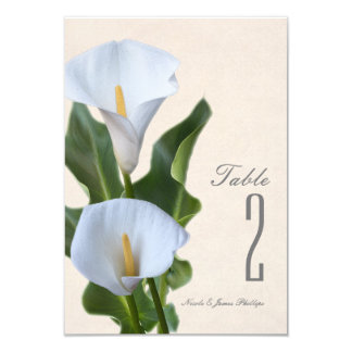 Calla Lily Flowers Floral Elegant Table Number Card