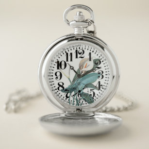 7b853f799 Calla Lily Flowers Large Numbers Pocket Watch