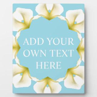 Calla Lily Geometric Kaleidoscope White Blue Display Plaques