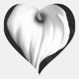 Calla Lily in Black and White Heart Sticker