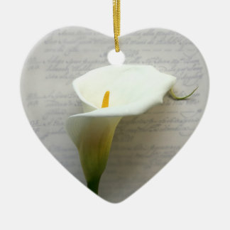 calla lily on old handwriting heart ornament