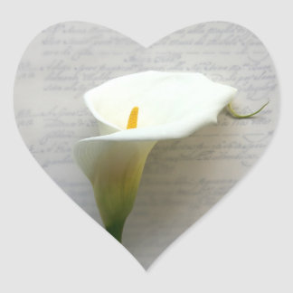 calla lily on old handwriting heart stickers
