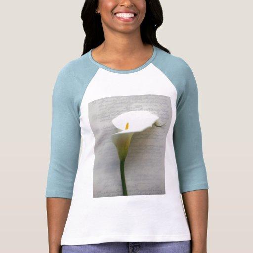 calla lily on old handwriting raglan t-shirt