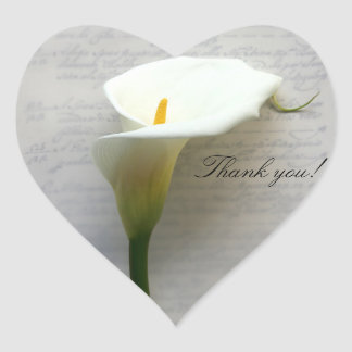 Calla lily on old handwriting thank you heart sticker