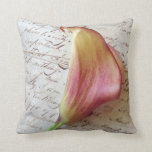 calla lily on old letters throw pillow