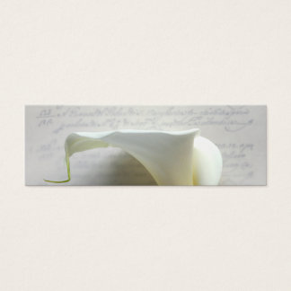 calla lily on old script handwriting bookmark mini business card