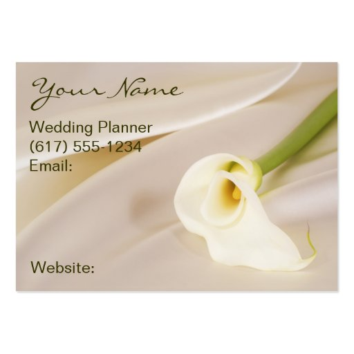 Calla Lily On White Satin Large Business Cards (Pack Of 100)