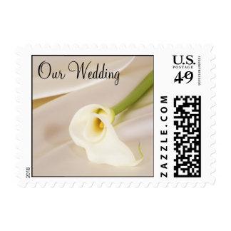 Calla Lily On White Satin, Our Wedding Postage Stamp