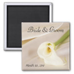 Calla Lily On White Satin Refrigerator Magnets