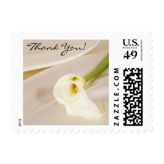 Calla Lily On White Satin, Thank You! Postage Stamps