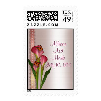 Calla Lily pink postage stamp