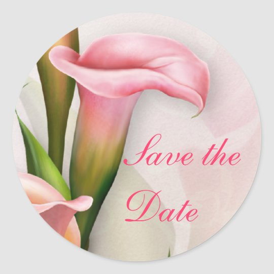 Calla Lily Pink Save the Date Envelope Seal
