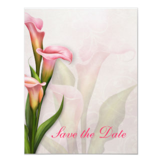 Calla Lily Pink Save the Date 4.25x5.5 Paper Invitation Card