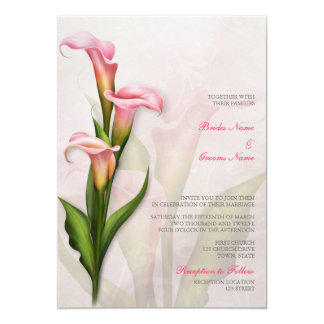 Calla Lily Pink Wedding Invitation