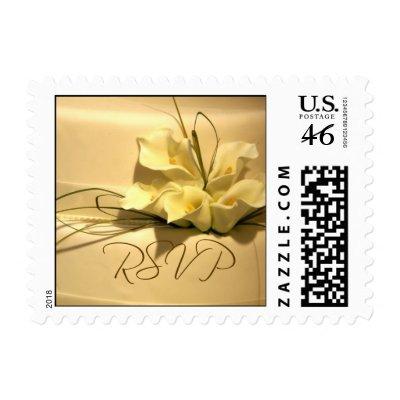 Calla lily RSVP Wedding postage by aslentz