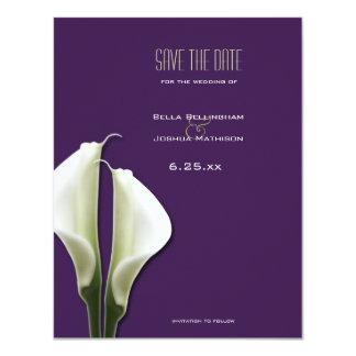 "Calla Lily Save the Date on Purple Announcement 4.25"" X 5.5"" Invitation Card"