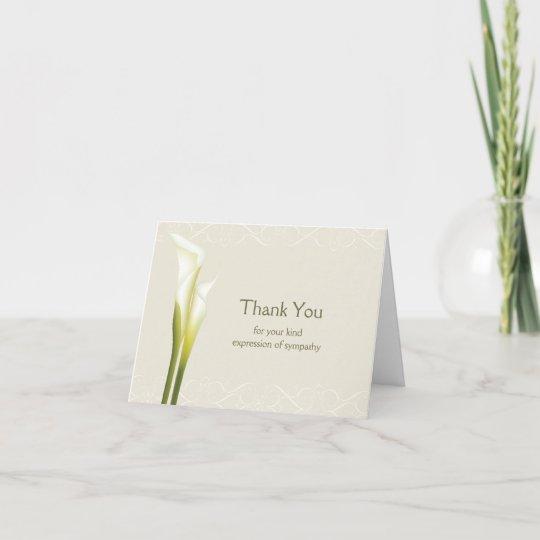 Calla Lily Sympathy Thank You Cards Zazzlecom