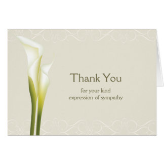 Calla Lily Sympathy Thank You Cards