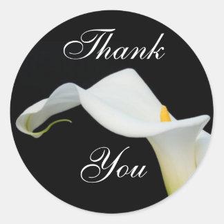 Calla Lily Thank You Sticker/Seal Classic Round Sticker