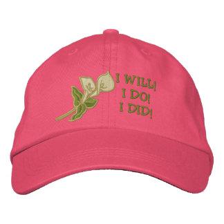 Calla Lily Wedding  and  Honeymoon Bride Funny Embroidered Baseball Cap