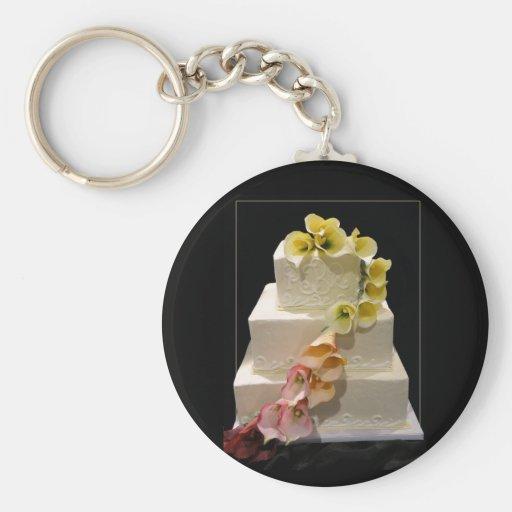Calla lily wedding cake key chains