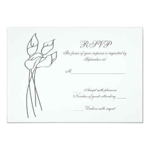 Calla Lily wedding rsvp Card