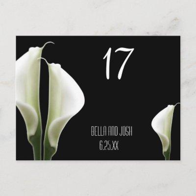 Calla Lily Wedding Table Card Postca Postcards