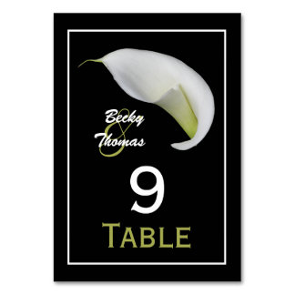 Calla Lily Wedding Table Numbers Cards Table Cards