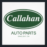 "Callahan Auto Parts Photo Print<br><div class=""desc"">The much-much loved familiar grren vintage Callahan Auto Parts logo will be sure to invoke great retro movie memories of the hilarious 90&#39;s.</div>"