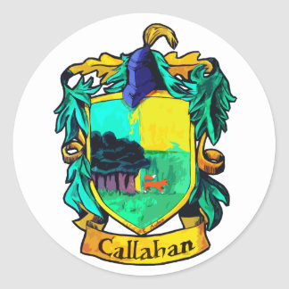 Callahan Family Crest (cutout) Classic Round Sticker