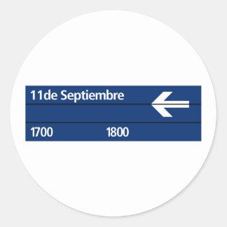 Calle 11 de Septiembre, placa de calle de Buenos Pegatina Redonda