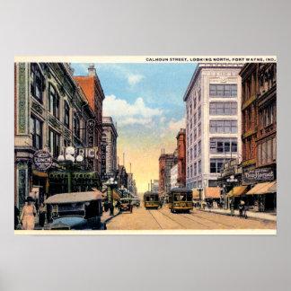 Calle 1920 de fuerte Wayne, Indiana Calhoun Póster