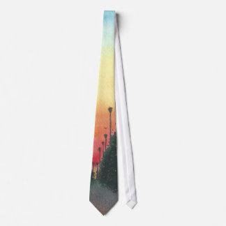Calle alineada palma en el ocaso corbatas personalizadas