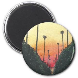 Calle alineada palma en el ocaso imán redondo 5 cm