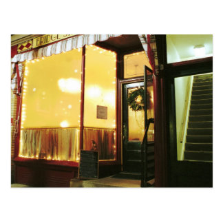 Calle Café - magia del puente en la noche Postal